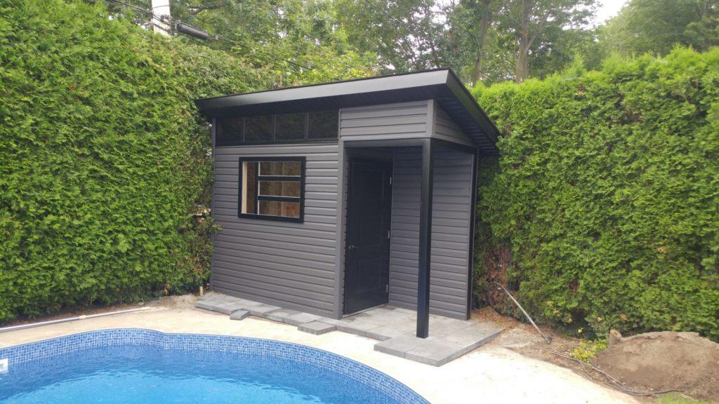 modèle de cabanon 1 versant avec extension de toit
